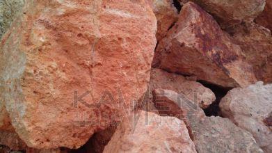 Tufa - kusový dekoračný kameň-Tufa červená